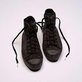 Spanish canvas shoes black black head wash old fabric fragrant shoes can be washed high tube U61777