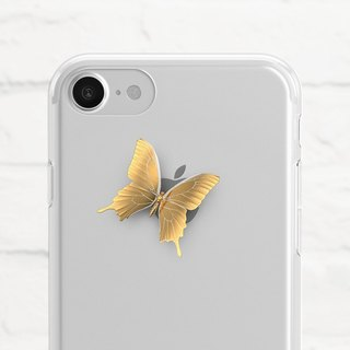 Golden Butterfly, Clear Soft Phone Case, iPhone X, iphone 8, iPhone 7, iPhone 7 plus, iPhone 6, iPhone SE, Samsung