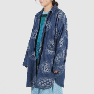 [Egg plant vintage] patch line embroidery long version of the old denim jacket blouse