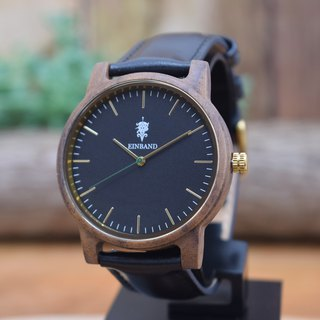 EINBAND Glanz BLACK 40mm Wooden Watch Black Leather Belt