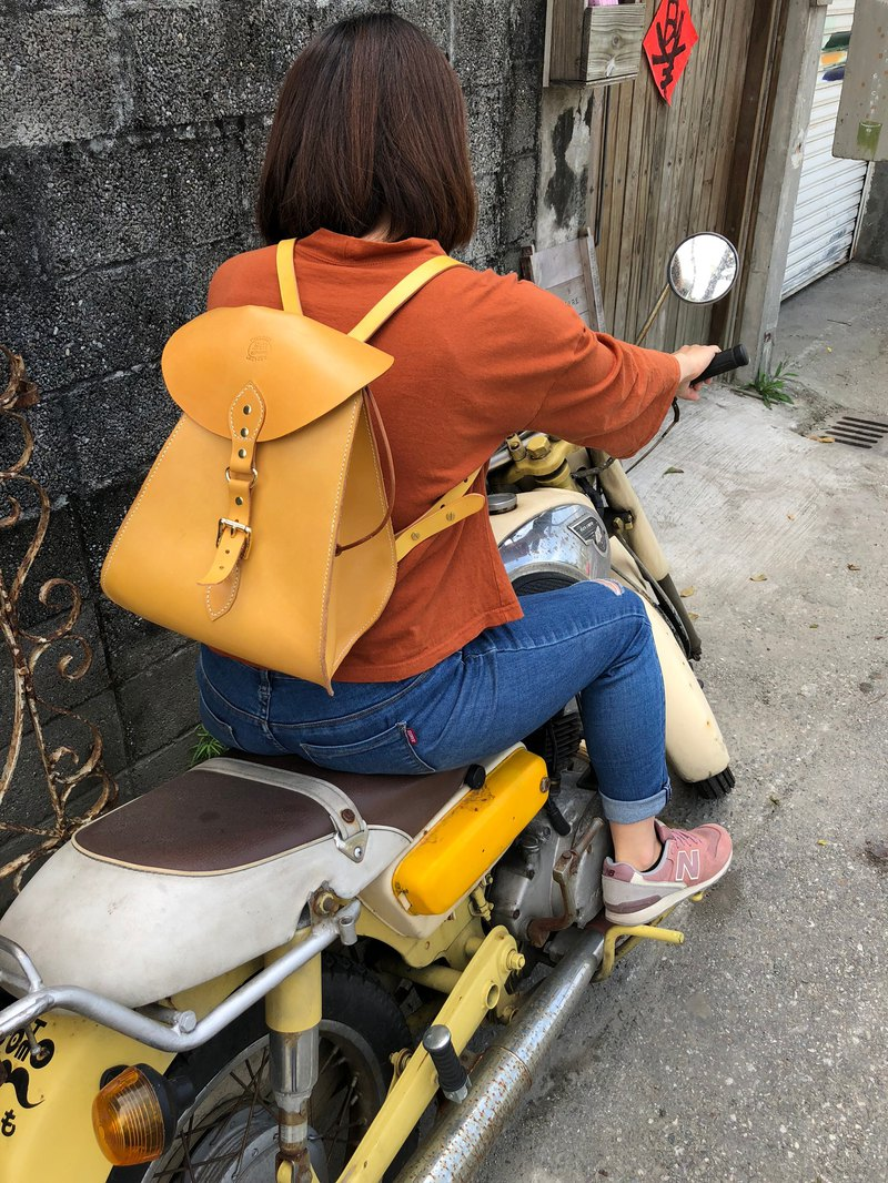法式浪漫黃色後背包 皮革手工縫製