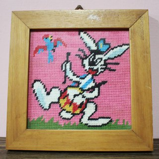 Antique Fairy Farm Factory (Italy returns) European antique hand-knitted playboy drum rabbit wood frame square ornaments (birthday gift / Valentine's Day gift)