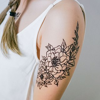 Minimalist Organic Flower Long Lasting Temporary Tattoo Stickers Floral Summer