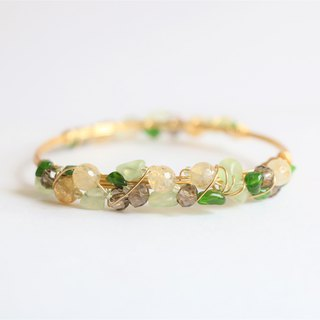Diopside and citrine wire wrapped bracelet - natural crystal silver bracelet
