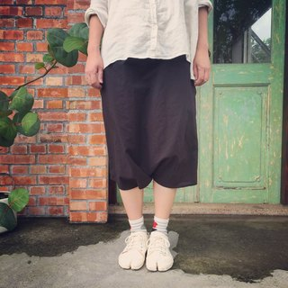 Handmade natural cotton and linen material Japanese Fuji pocket pants black