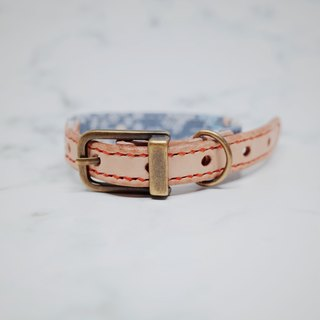 Dog big cat S/1.5 cm dog cat collar (without tag) light gray light blue retro small floral Japanese cloth