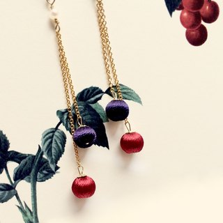 Red and Blue, Stereo embroidery earrings, 14k gold chain