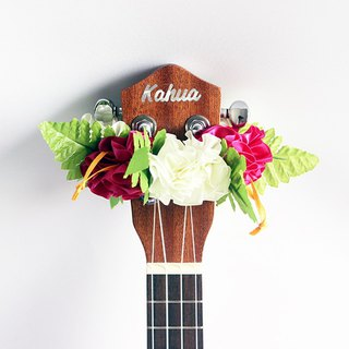 ribbon lei for ukulele,rsp hibiscus,ukulele strap,ukulele accessories,hawaiian