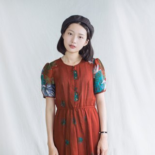 Orange-red tropical jungle vintage short-sleeved dress