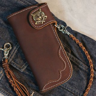 Biker long Wallet chain brass Genuine Leather Brown owl Old School Cross Guns