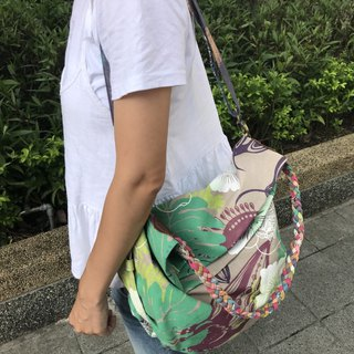 weaving canvas bag /handmade serigraphy