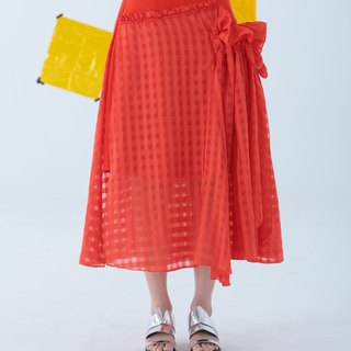Orange Red Two Layer Skirt (Also have Black Color)