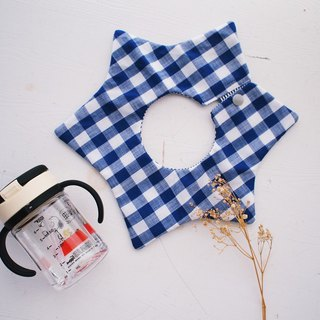 Hairmo. Blue character pattern handmade baby bib / saliva towel-star version