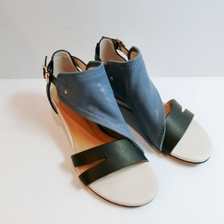 Painting # 8051 || calfskin + sheepskin wedge sandals with blueberry black forest ||