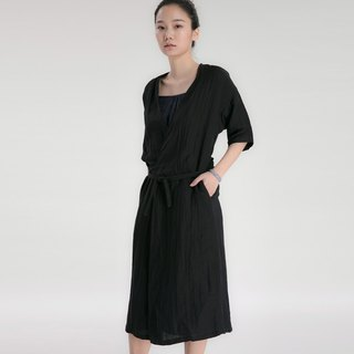 BUFU  oversized shirt / dress in black   D170203