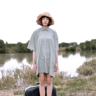 Mani Mina Green Boxy Shirt Dress Short Sleeve