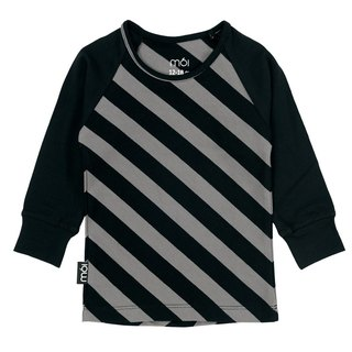 Nordic Organic Cotton Children's Long Sleeve Duck T-Shirt Black Gray Twill Long T-Shirt Lt1 stripes