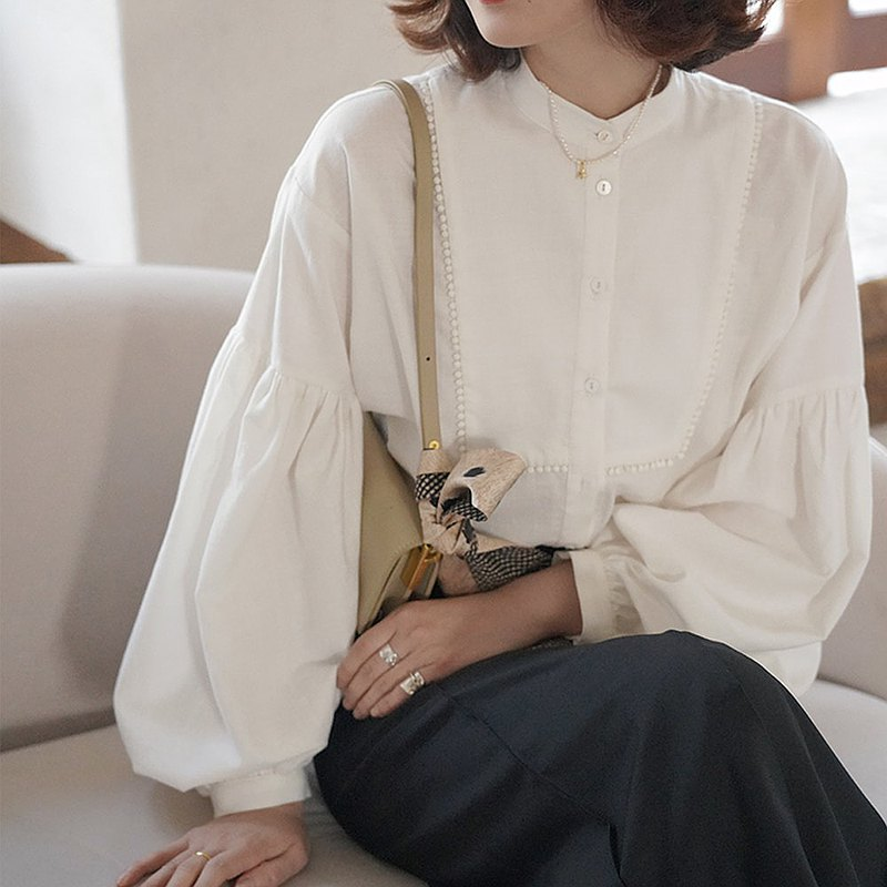 White Round Neck Puff Sleeve Shirt|Shirt|Top|Spring Style|Cotton|Sora-690