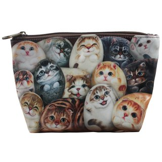[Henry House Family] linoleum PVC cosmetic bag - hundred cats (square)