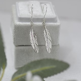 Feather Earrings (Pure Silver Earrings Sterling Silver Plated K Gold Gold Earrings Silver) ::C% Handmade Jewelry::