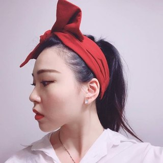French red wide elastic bandage hair band manual hair band limited hair band