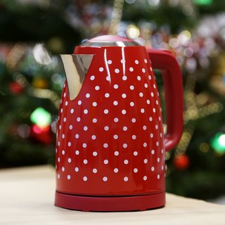 1.7L Cordless Electric Water Kettle - Red Polka Dots