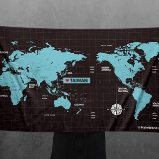Make World map to make sports bath towels (midnight)