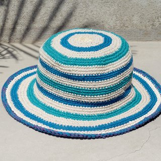 A limited edition of hand-woven cotton cap / knit cap / hat / visor / hat - blue sky striped knit