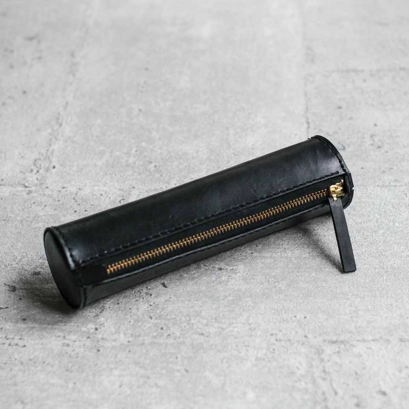 Black handmade cylinder leather Pencil Case/Pen Pouch