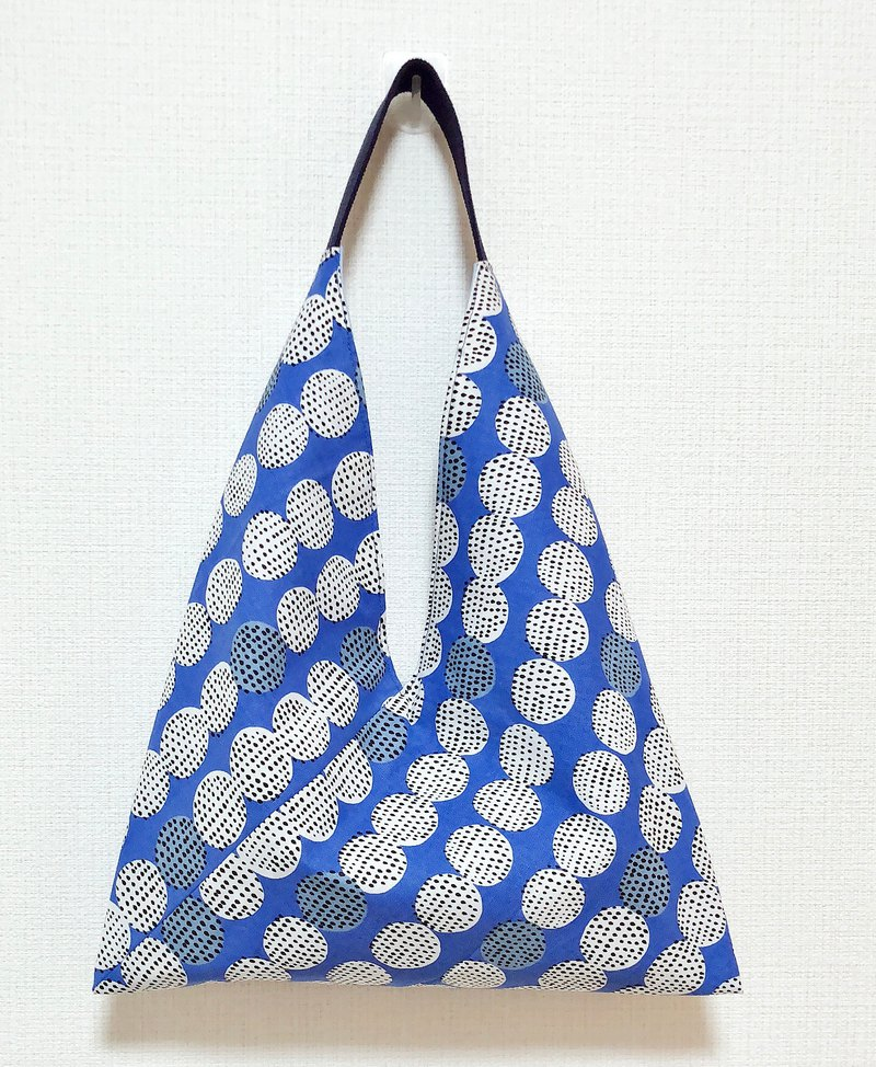 春夏粽形手提包/進口布北歐風圖案-藍白圈圈