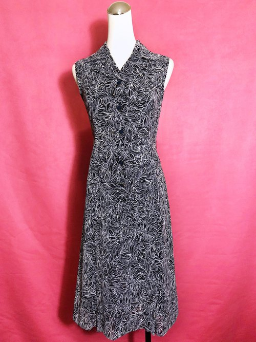 Line flower textured sleeveless vintage dress / abroad brought back VINTAGE