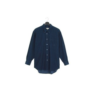 Back to Green :: Corduroy blue / / men and women can wear / / vintage Shirts