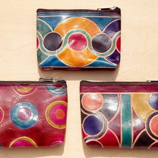 Handmade sheepskin purse / hand-painted style leather wallet / leather bag / bag - circle of life pop