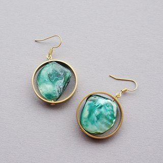 Retro color shell earrings green (brass / limited handmade / birthday present)