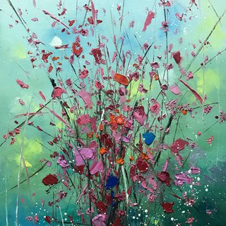 Chen Huanwen painting creation flowers