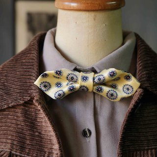 Papa's Bow Tie- antique handmade cloth flowers tie tie restructuring - spring buds - yellow - Wide