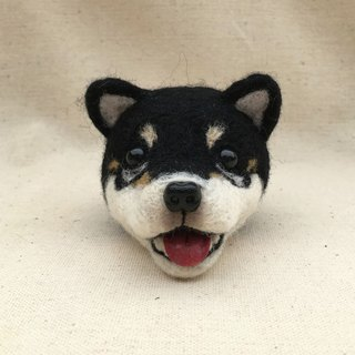 Wool Felt is really black and white dog key ring can be customized