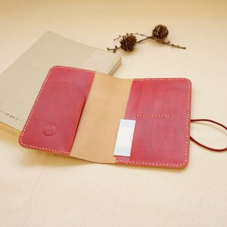 Hand dyed leather passport set notebook set - carmine