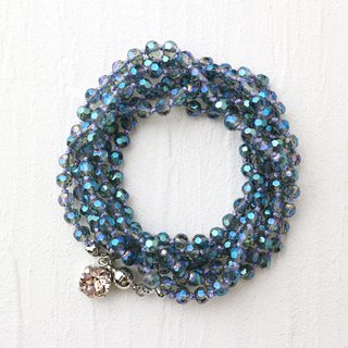 Wrap Bracelet (Blue Glass Beads)