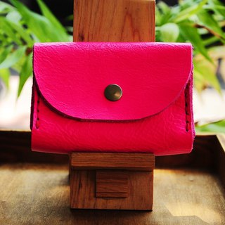 Double-layer card leather coin purse - pink cowhide