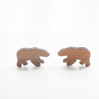 Customized Name Gift Wood Dark Shape Wood Chip - Polar Bear