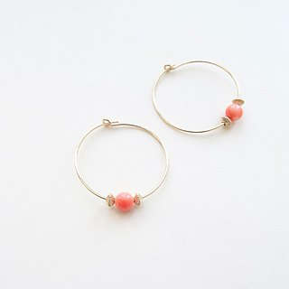 Deep-sea Precious Coral & 14K GF Corrugated Saucer Beads Ear Hoops Earrings