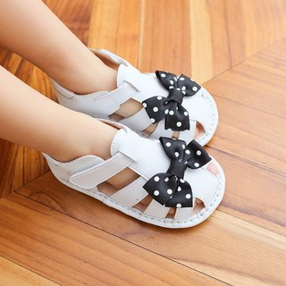 Butterfly flying baby sandals - black and white dots