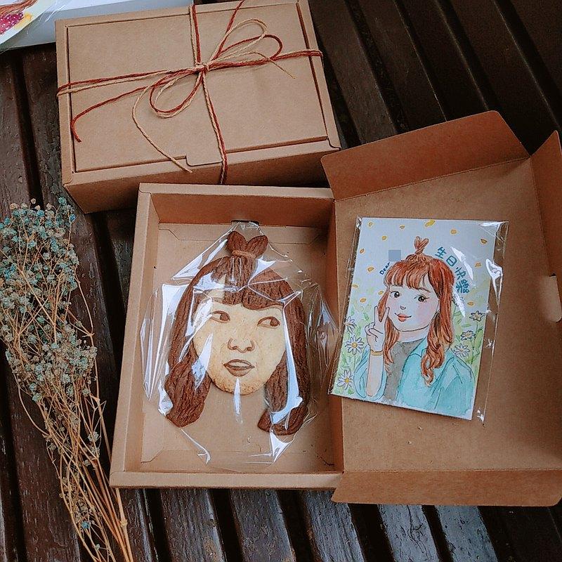 【客製禮物】似顏繪禮盒─畫作+餅乾