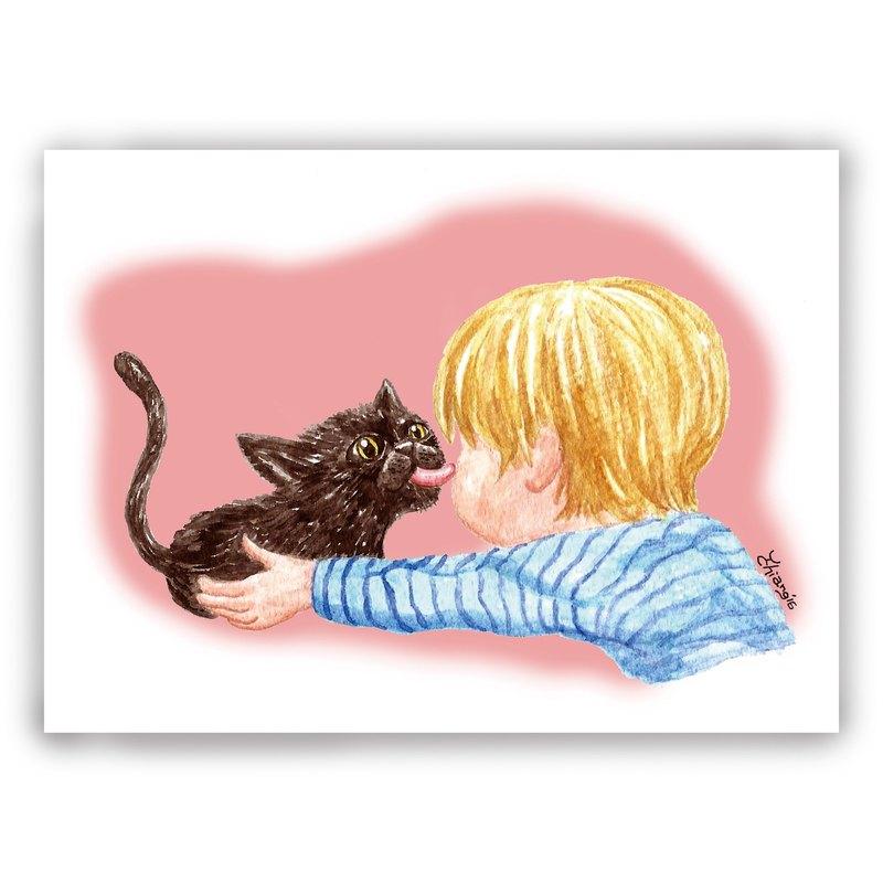 手繪插畫萬用卡/卡片/明信片/插畫卡--親親 貓咪 Kissing Kitten
