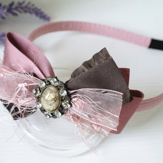 Classic Dark Pink Ribbon Hair Band HB002