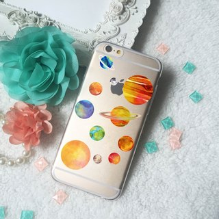 Space Planet Earth pattern Clear TPU Phone Case  iPhone X 8 8 plus 7 7+ Samsung