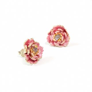 珐琅 series blossom rich peony earrings pre-order