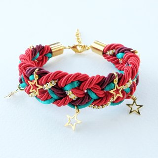 Christmas gift collection , Red/Green/Gold braided rope bracelet with stars