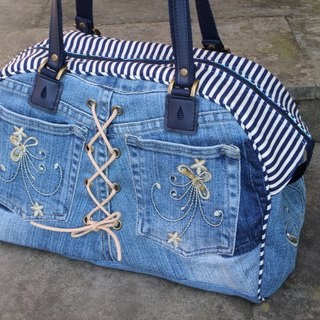 Love Earth Handmade Bags* Jeans Remodeled Boston Bag | Choose Your Favorite Fabric